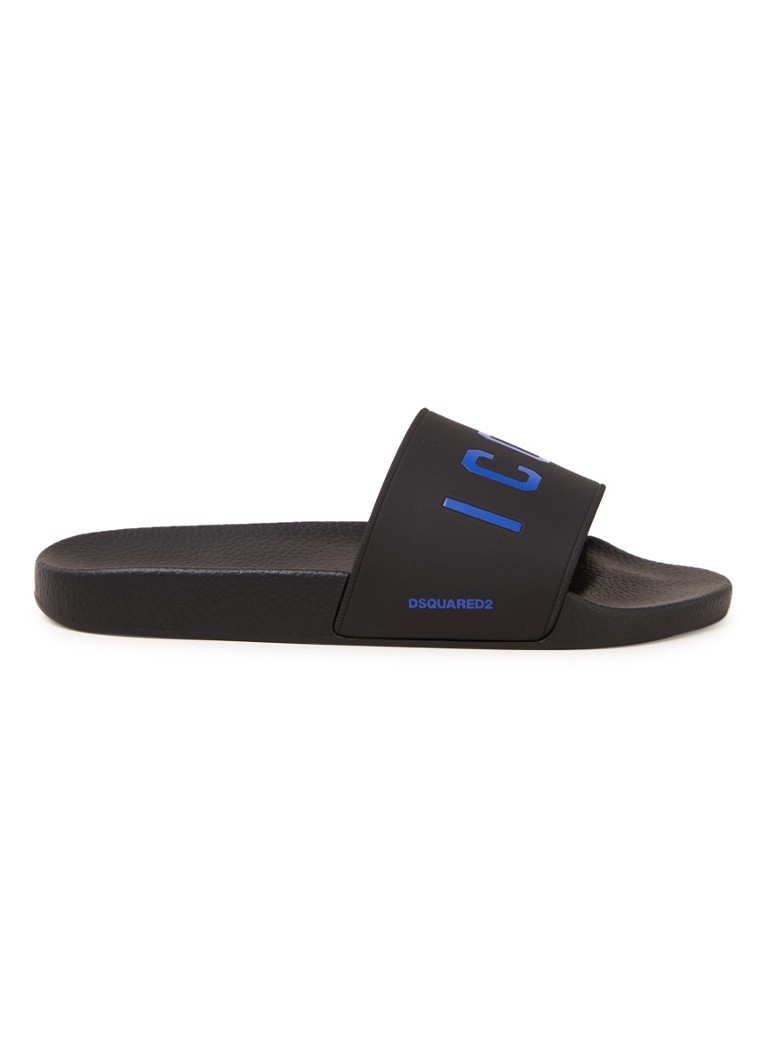 Dsquared2 - Icon slipper met logo - Zwart