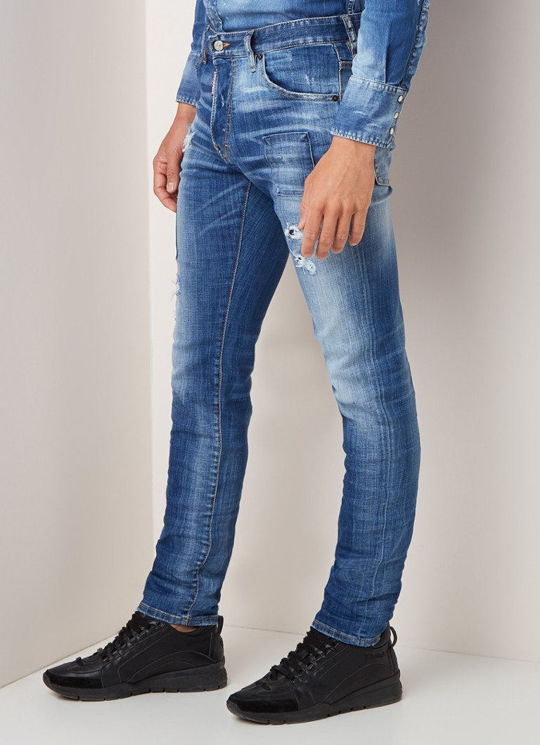 Dsquared2 - Jean Cool Guy slim fit jeans met ripped details - Indigo