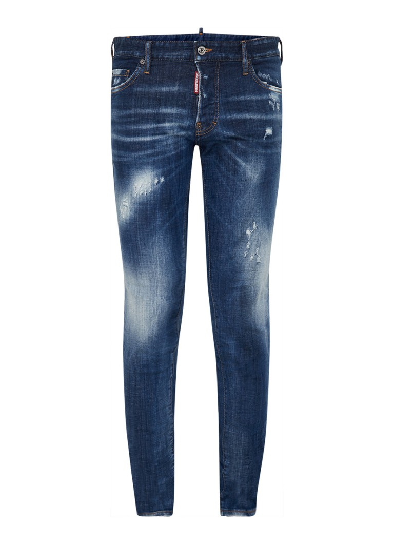 Dsquared2 - Slim fit jeans met ripped details - Indigo