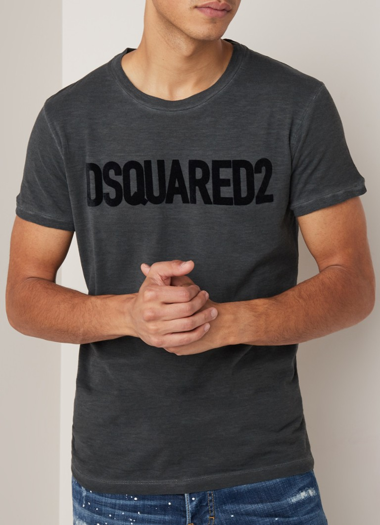 Dsquared2 - T-shirt met flock logoprint - Antraciet