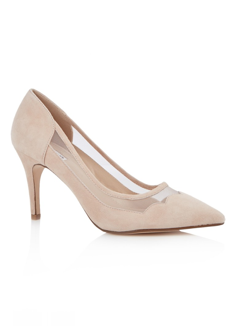 Dune London - Bunnie pump van suède en mesh - Naturel