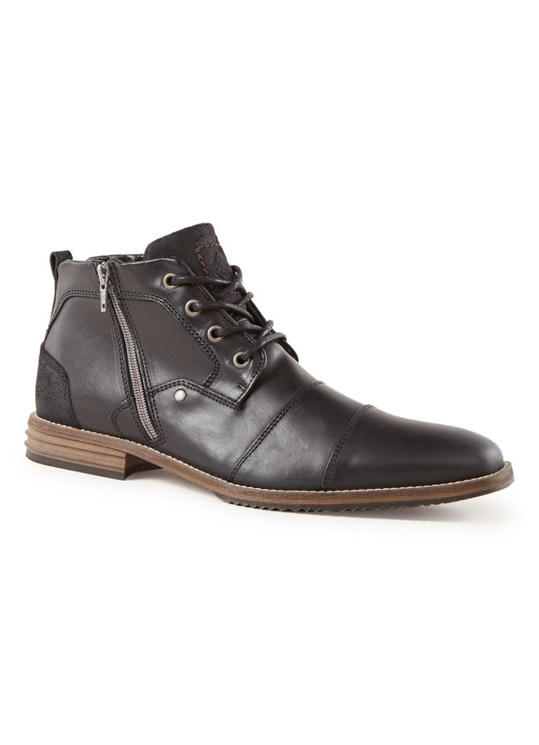 Dune London - Captains biker boot van leer - Zwart
