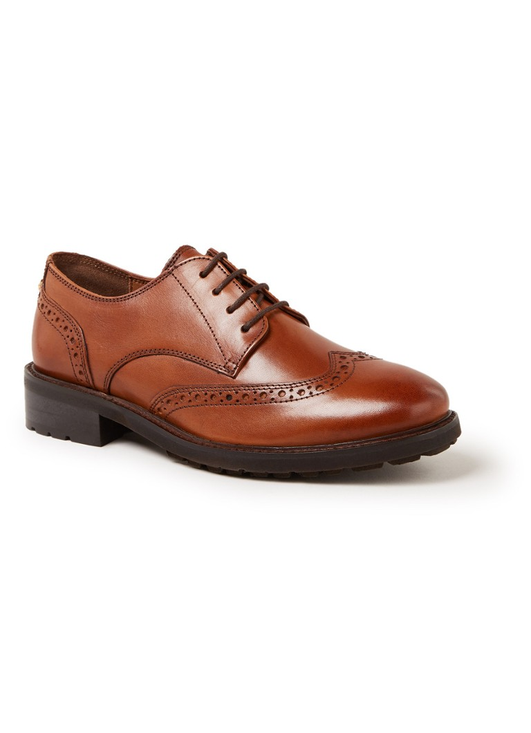 Dune London - Fion brogue veterschoen van leer - Roestbruin
