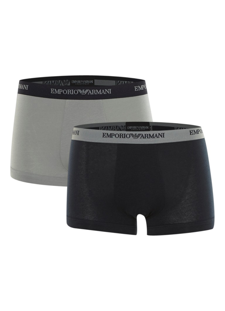 Emporio Armani - Boxershorts in uni in 2-pack - Donkerblauw