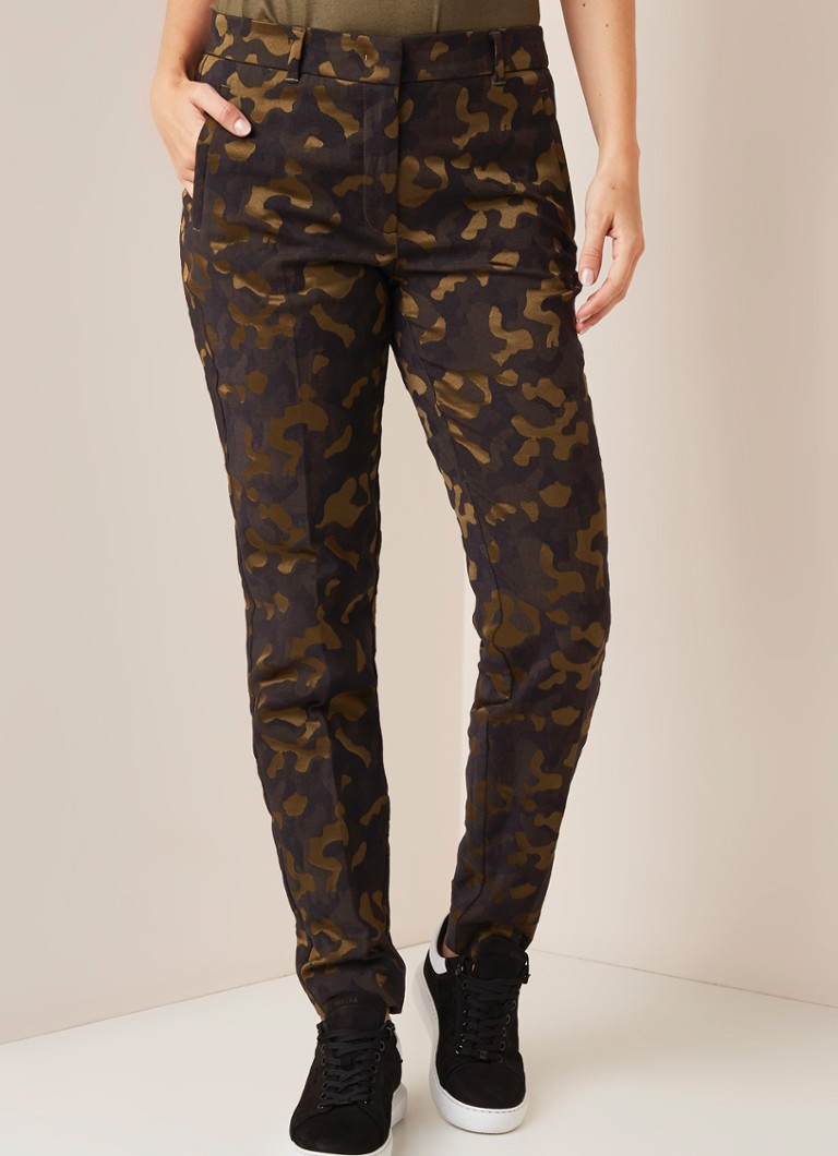 Expresso - Libby slim fit pantalon met camouflagedessin - Legergroen