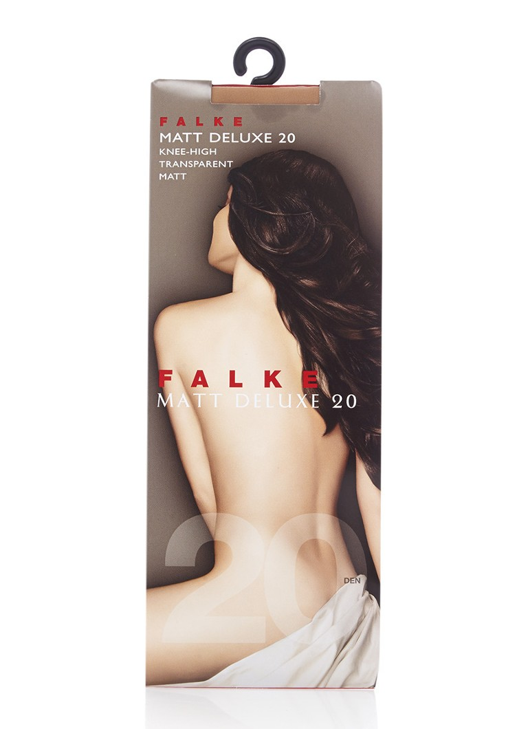 Falke - Matt Deluxe kniekousen in 20 denier powder - Naturel