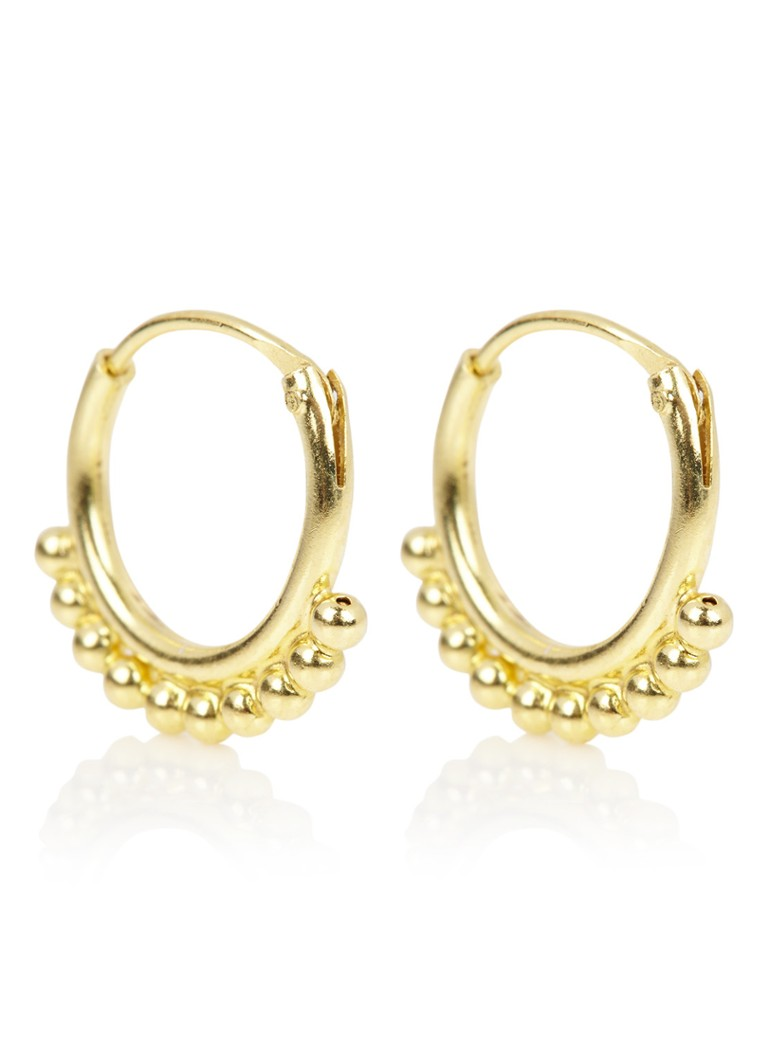 Fashionology - Boucles d'oreilles Ball Hoop plaqué or - Or