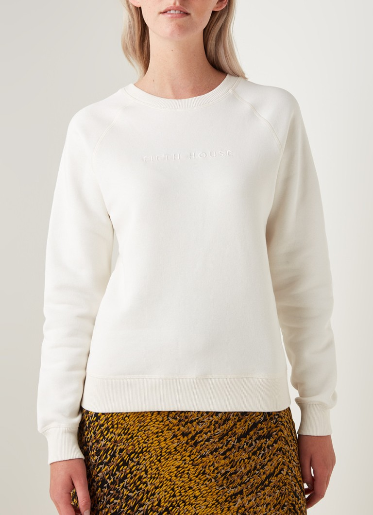 Fifth House - Elvi slim fit sweater met logoborduring - Gebroken wit