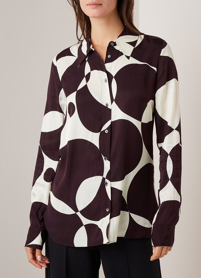 Fifth House - Rory blouse van satijn met grafisch dessin - Aubergine
