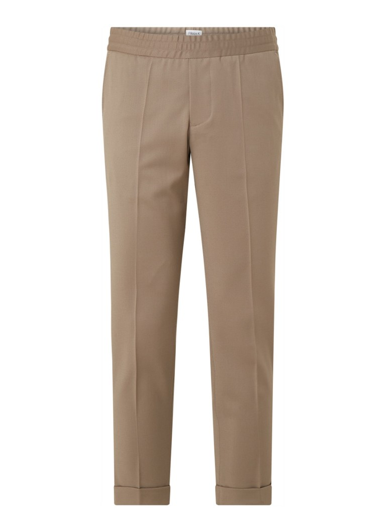 Filippa K - Terry tapered fit cropped pantalon in wolblend - Lichtbruin