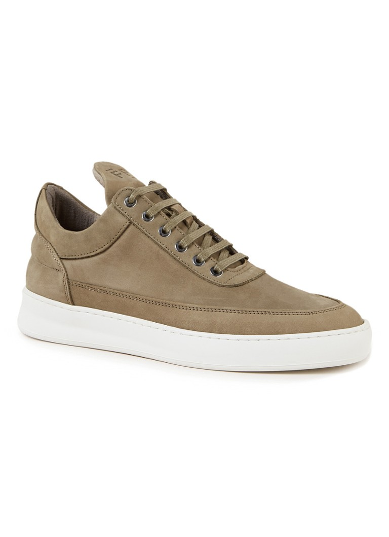 Filling Pieces - Low Top Plain Lane sneaker van nubuck  - Legergroen