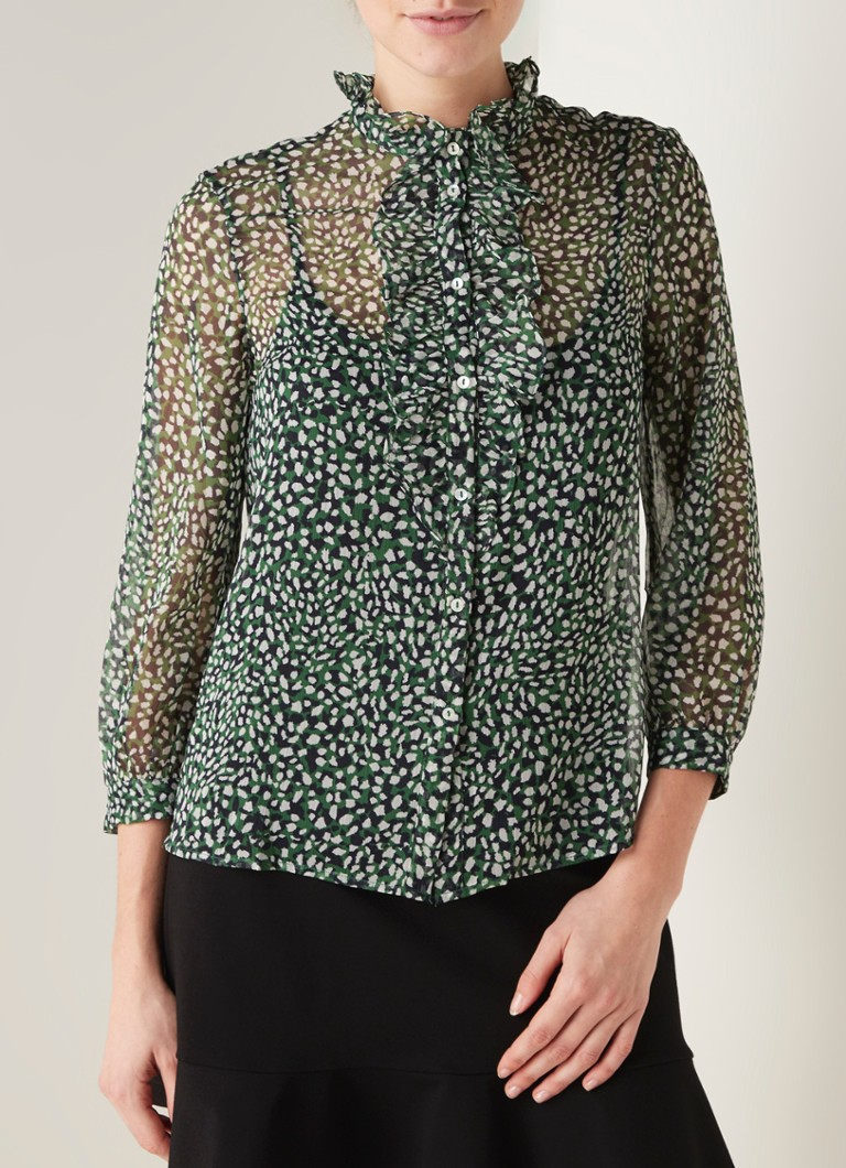 French Connection - Cade blouse van chiffon met ruches en dessin - Donkergroen