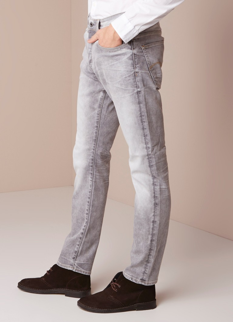 G-Star RAW - 3301 high rise tapered fit jeans met faded look - Lichtgrijs