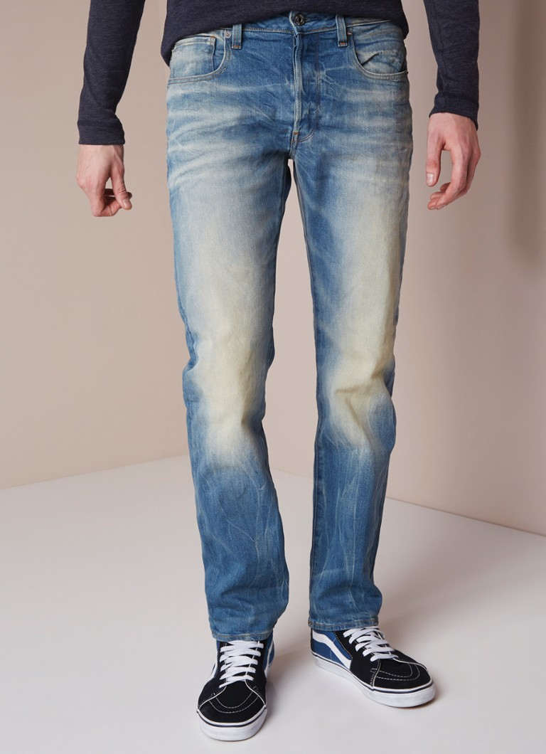 G-Star RAW - 3301 Mid rise straight fit jeans met stretch - Indigo
