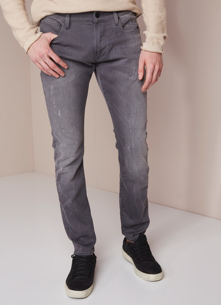 G-Star RAW - Revend low rise super slim fit jeans met ripped detail - Grijs