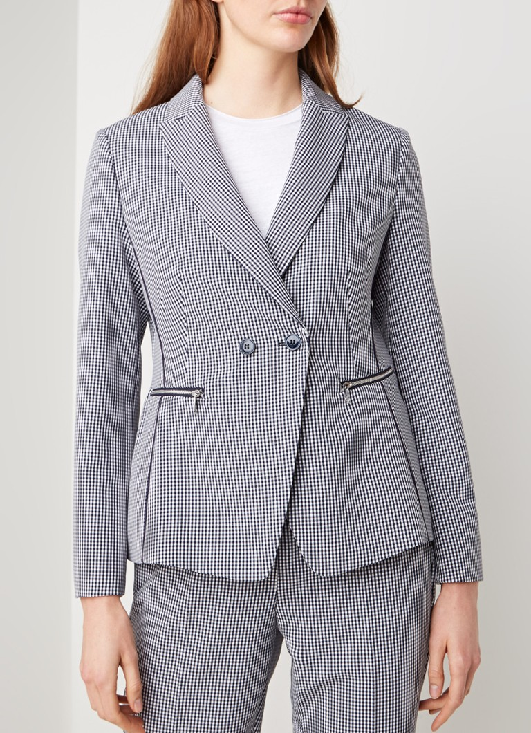 Gerry Weber - Double breasted blazer met gingham dessin - Donkerblauw