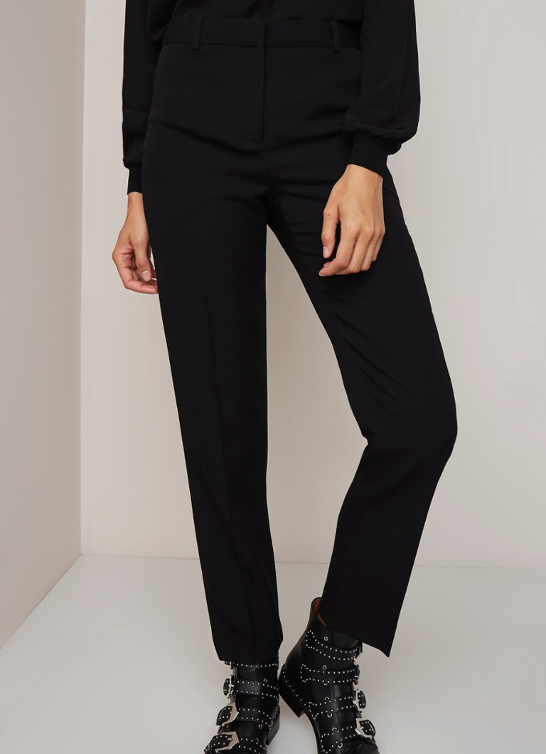 Givenchy - High rise slim fit pantalon van wol met persplooi - Zwart