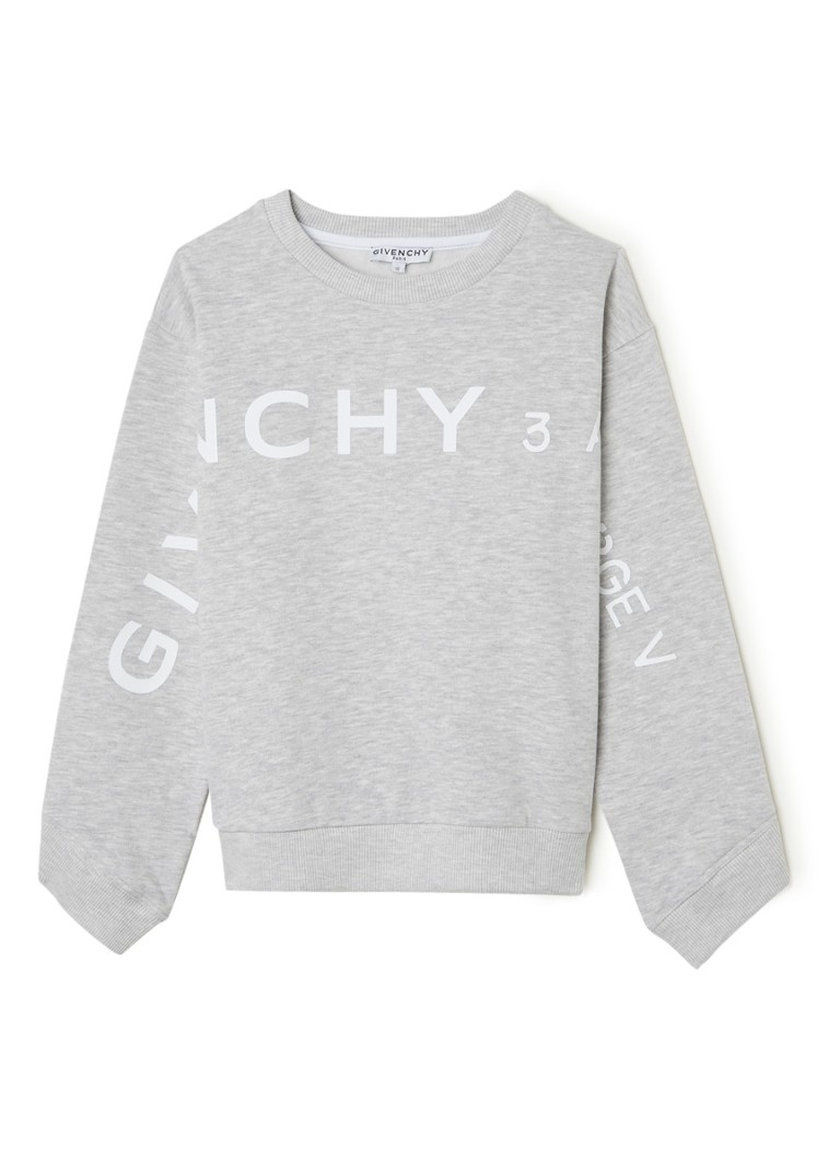 Givenchy - Sweater in mêlée met logoprint - Grijsmele