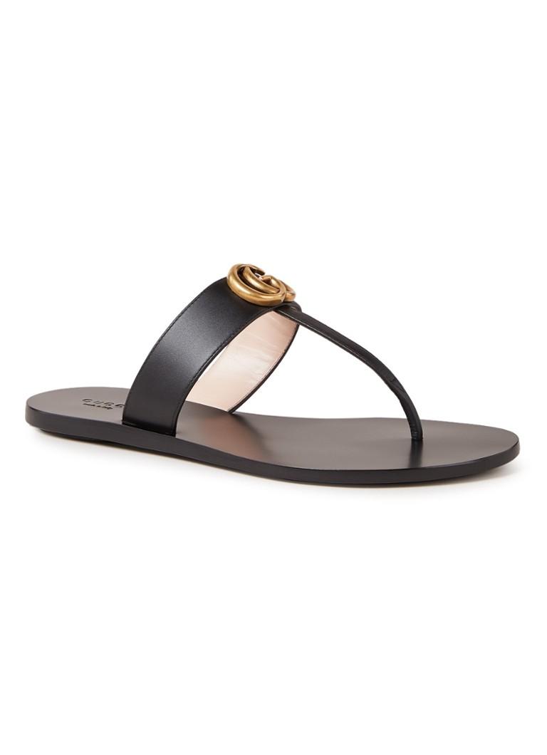 92607a50518 Gucci Marmont Thong slipper van leer • de Bijenkorf