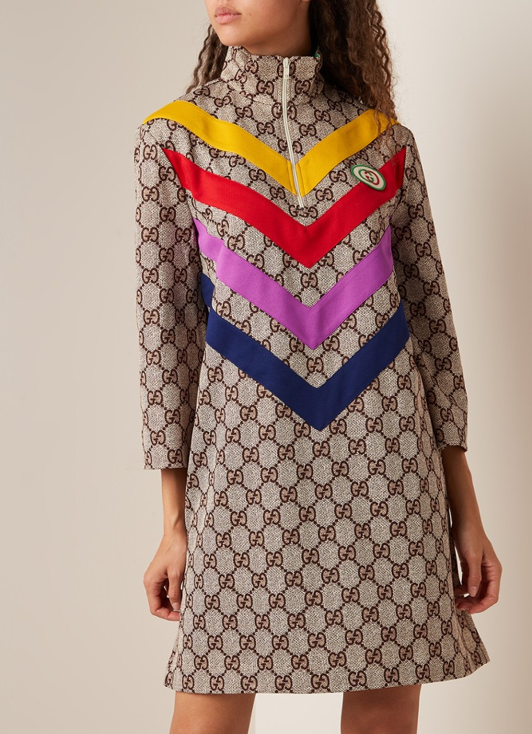 Gucci - Tuniekjurk met logodessin en colour blocking - Beige