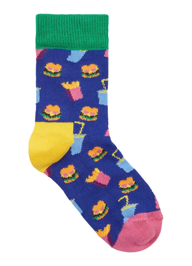 Happy Socks - Hamburger sokken in katoenblend - Multicolor