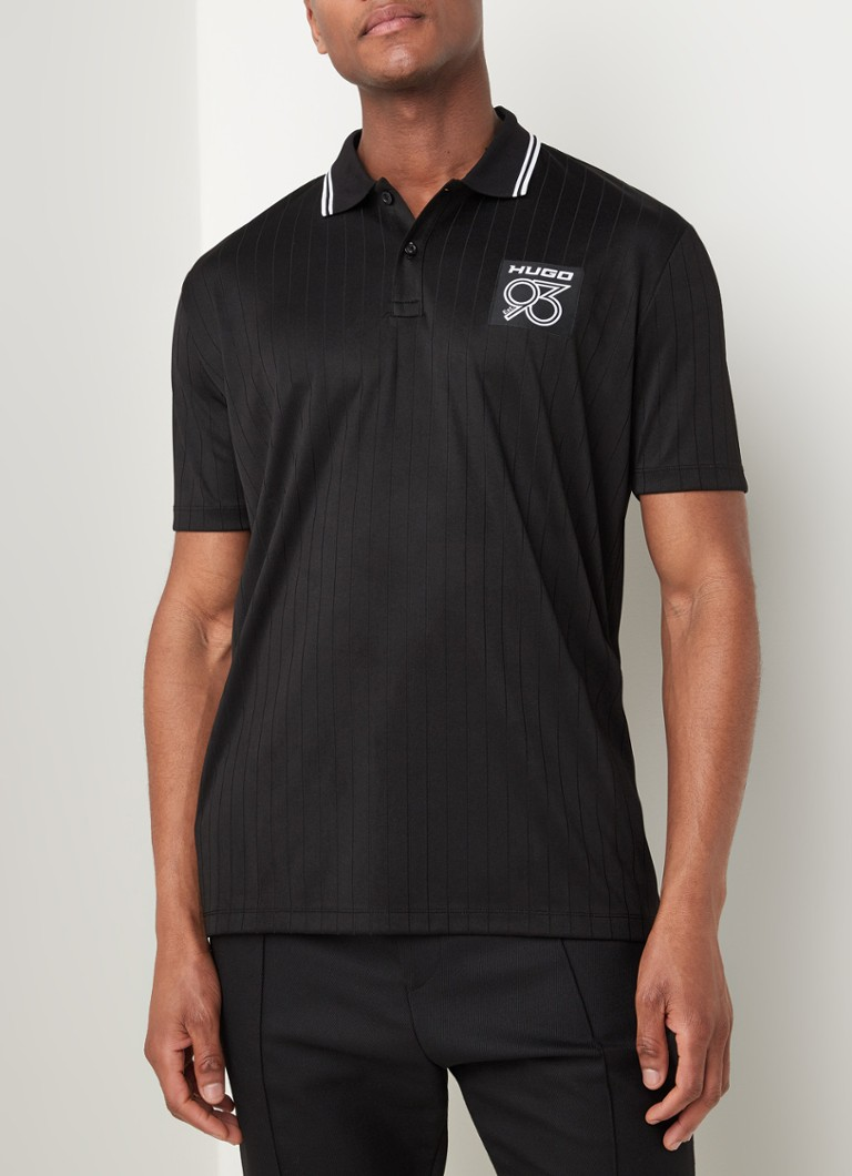HUGO BOSS - Demory regular fit polo met applicatie - Zwart