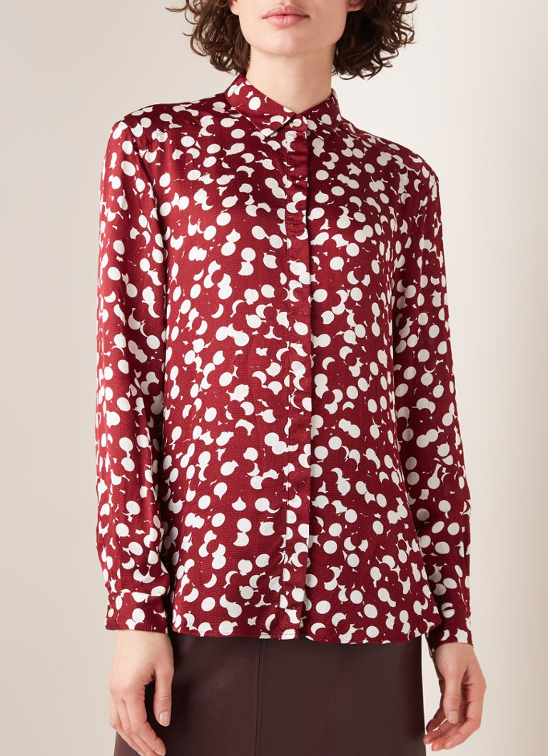 HUGO BOSS - Empoi blouse met stippendessin en glanzende finish - Donkerrood