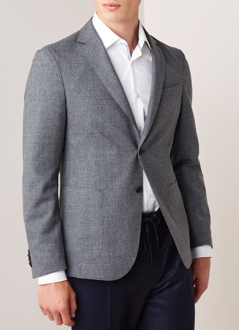 HUGO BOSS - Hooper Travel slim fit colbert van scheerwol - Grijsmele