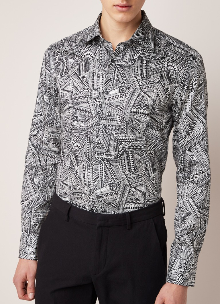 HUGO BOSS - Jango slim fit overhemd met all over print - Wit