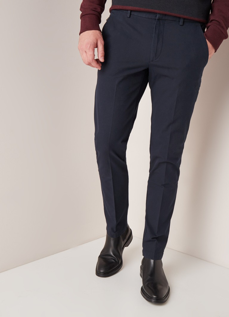 HUGO BOSS - Kaito1-Travel1 tapered slim fit pantalon met stretch - Donkerblauw