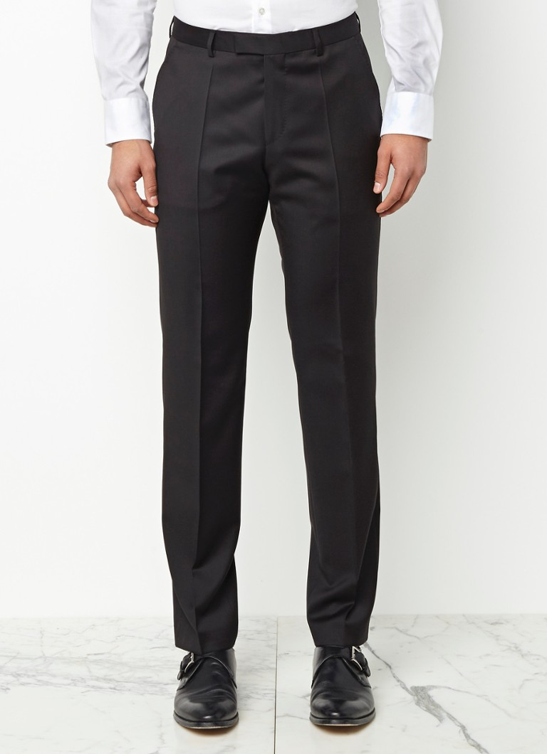 HUGO BOSS - Lenon_cyl regular fit pantalon van scheerwol - Zwart