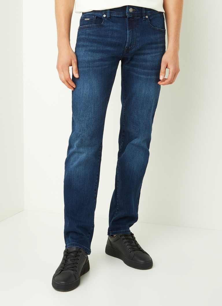 BOSS - Maine straight fit jeans met stretch - Indigo