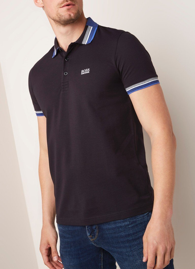 HUGO BOSS - Paddy regular fit polo met getipte boorden - Zwart