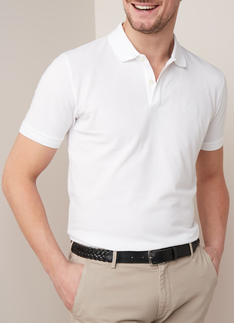HUGO BOSS - Pallas regular fit polo van Pima katoen  - Wit