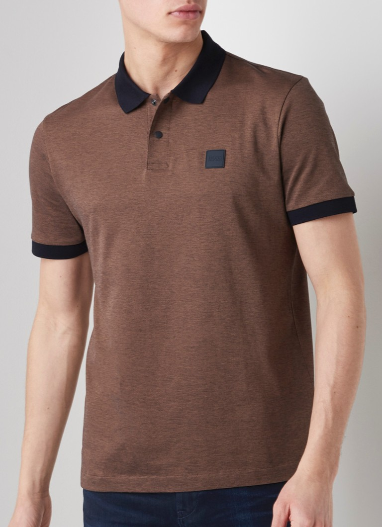 HUGO BOSS - Parlay regular fit polo van pima katoen - Bruin