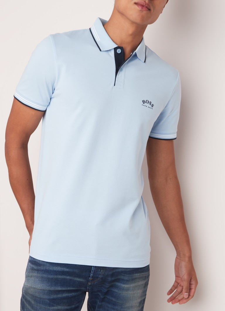 HUGO BOSS - Paul Curved slim fit polo met getipte boorden - Lichtblauw