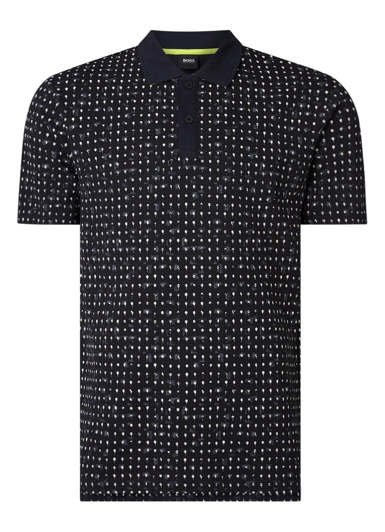 HUGO BOSS - Pepol slim fit polo met print - Zwart