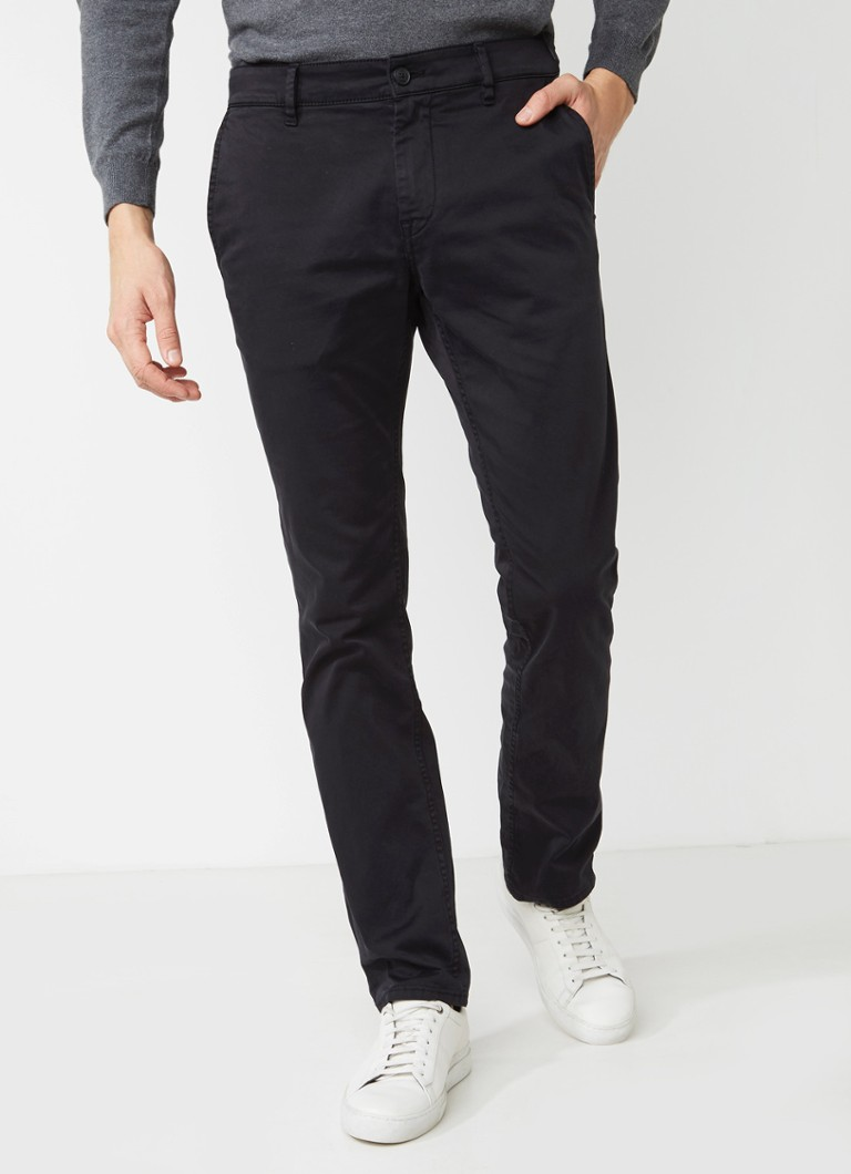 HUGO BOSS - Schino straight fit chino met stretch - Zwart