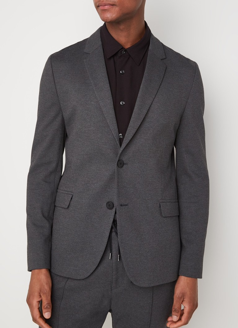 HUGO BOSS - Slim fit colbert met klepzakken  - Antraciet