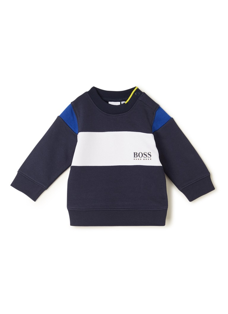 HUGO BOSS - Sweater met colour blocking - Donkerblauw