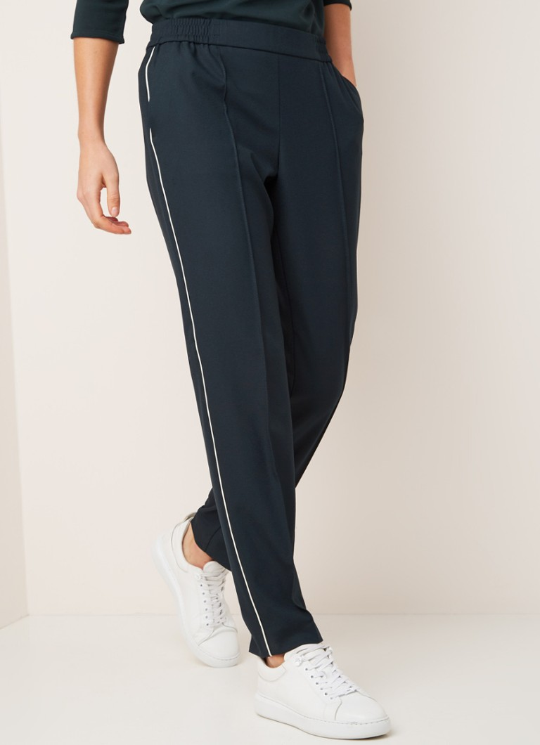 HUGO BOSS - Tahwani tapered fit track pants met contrastbies - Donkergroen
