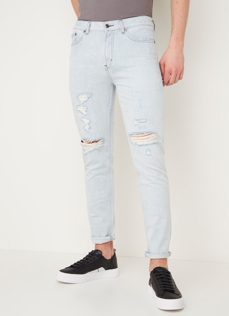 HUGO BOSS - Tapered fit jeans met ripped details  - Indigo