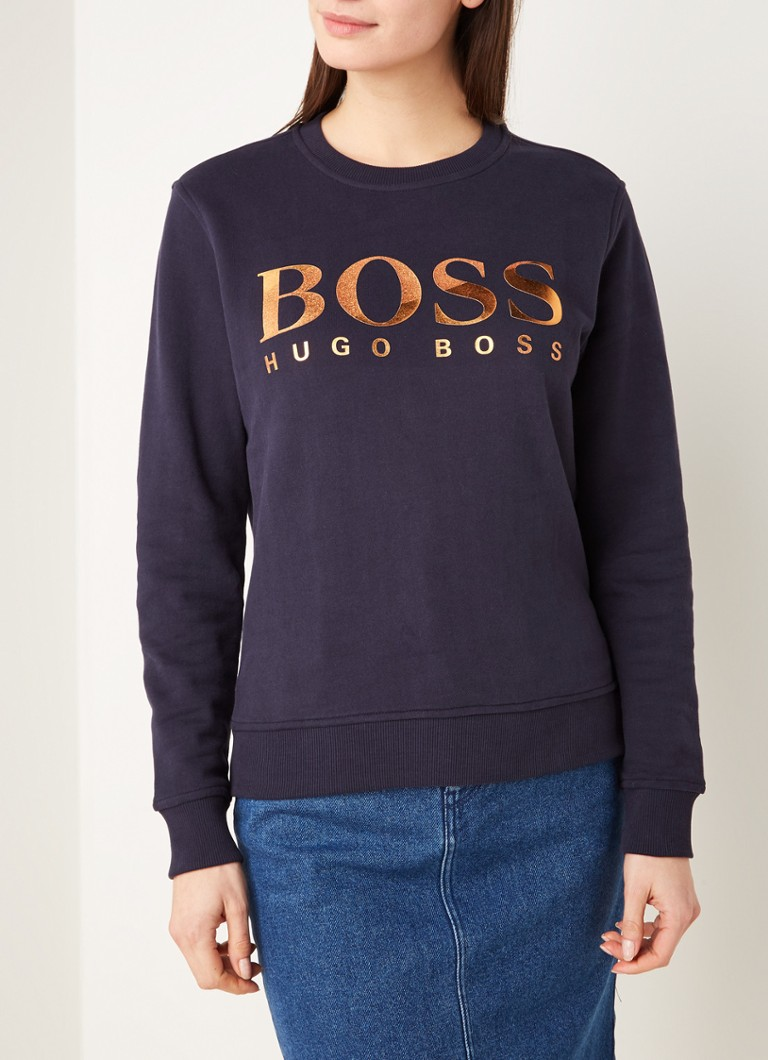 HUGO BOSS - Tastitch sweater met logoprint - Donkerblauw