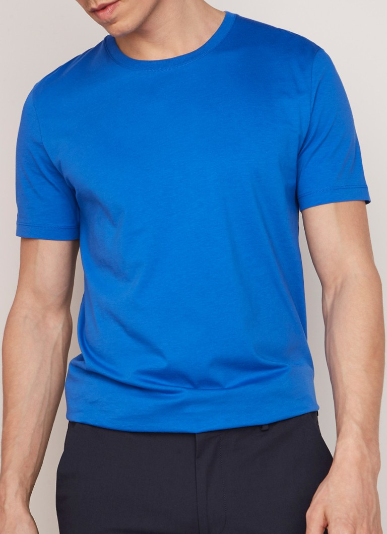 HUGO BOSS - Tiburt regular fit T-shirt met ronde hals - Kobaltblauw
