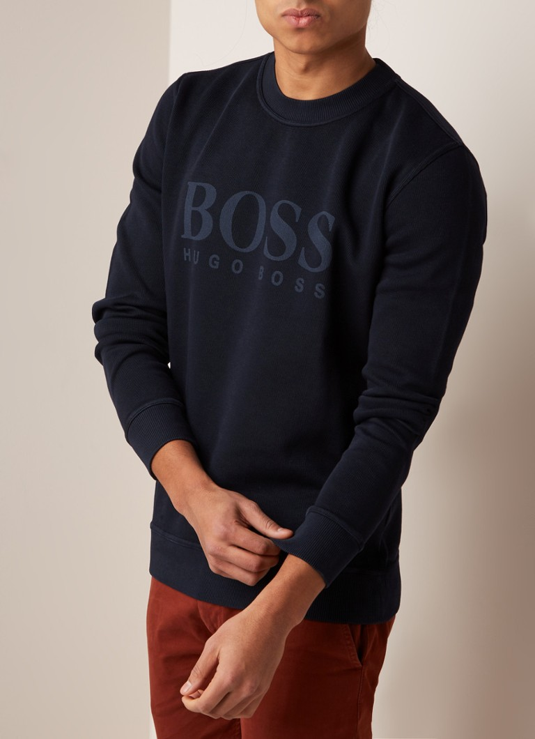 HUGO BOSS - Weave sweater met logoprint - Donkerblauw