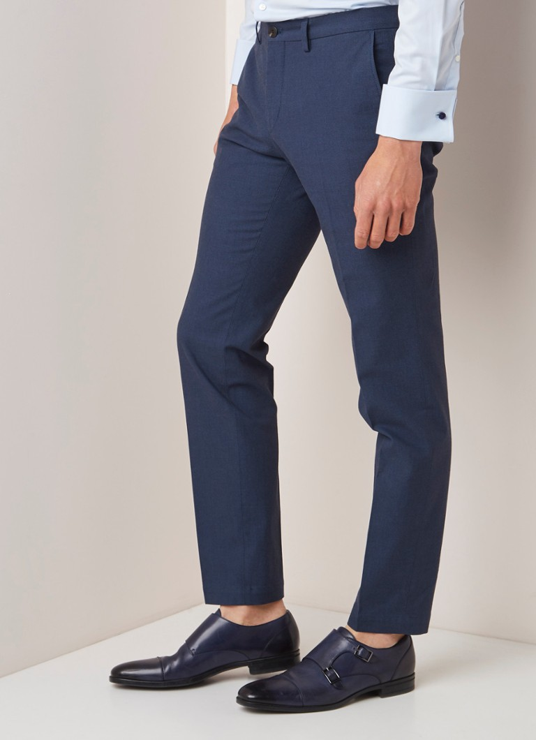 HUGO BOSS - Wylson extra slim fit pantalon met microdessin - Donkerblauw