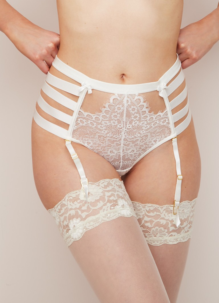 Hunkemöller - Private Collection Peaches string met jarretels - Wit