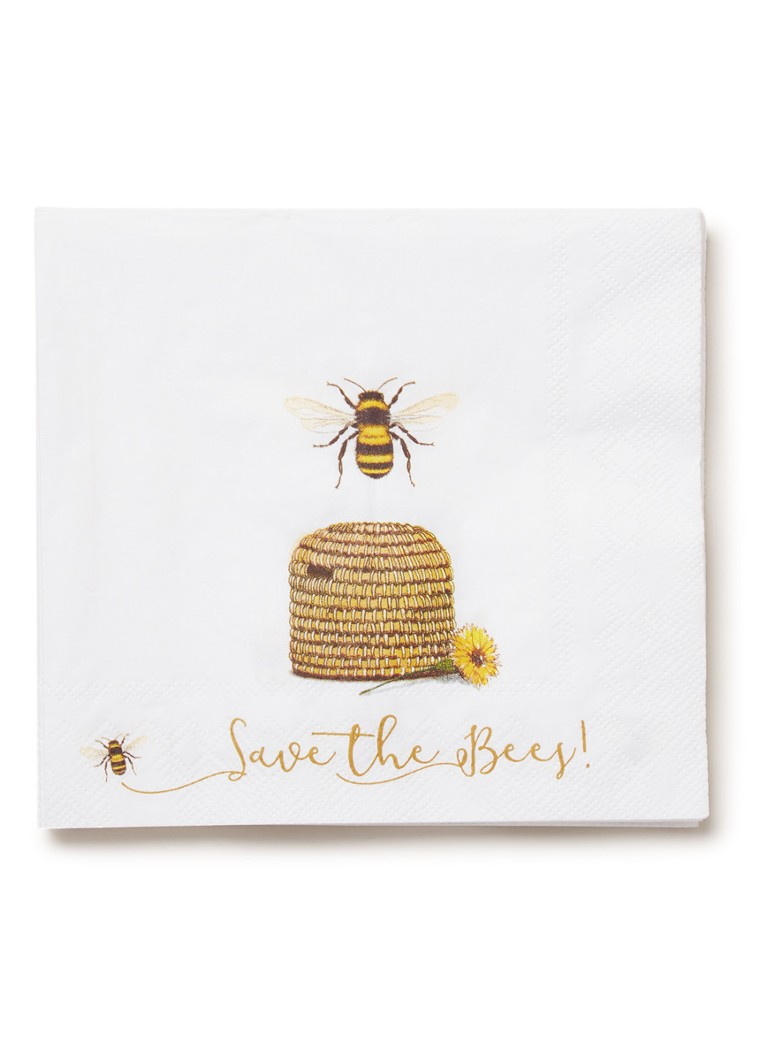 Ihr Ideal Home - Save The Bees servetten 33 x 33 cm - Wit