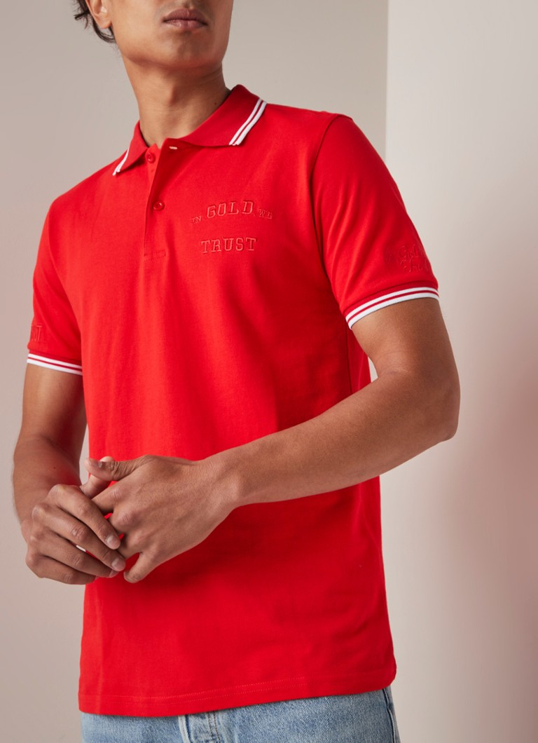 In Gold We Trust - Regular fit polo met logoborduring - Rood