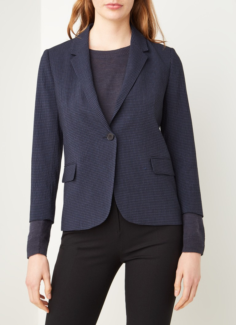 Jigsaw - Relaxed fit blazer met ruitdessin - Donkerblauw